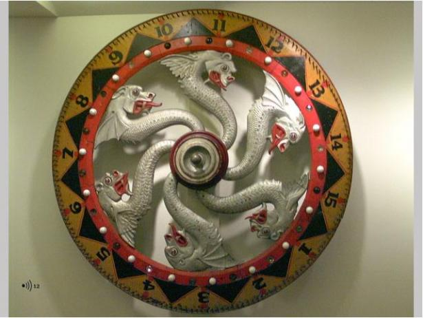 Gambling wheel, 1900-1920. Wood, glass, metal. Purchase, 1995.2