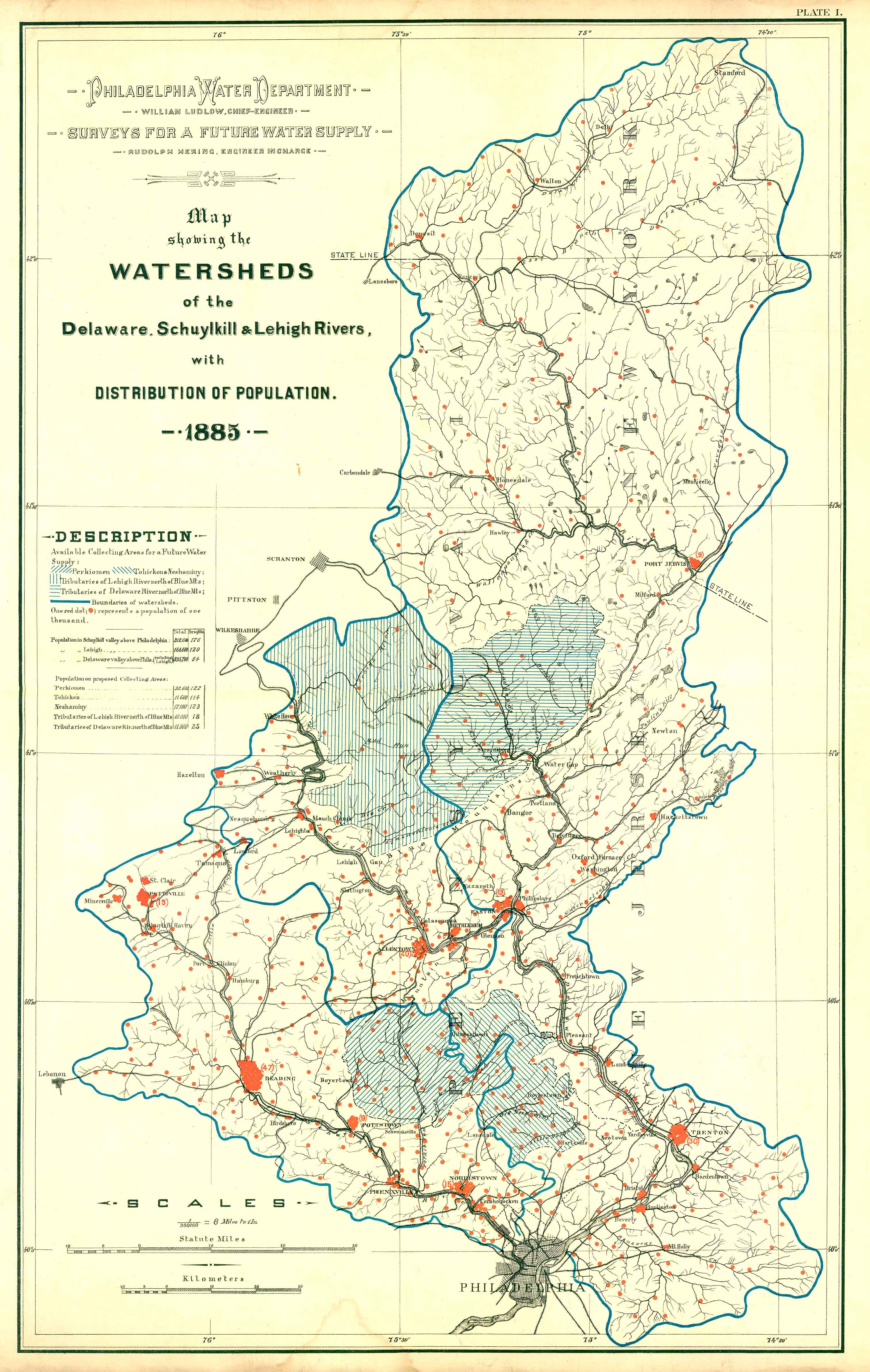 Delaware River Watershed Map 1885 Delaware River Watersheds